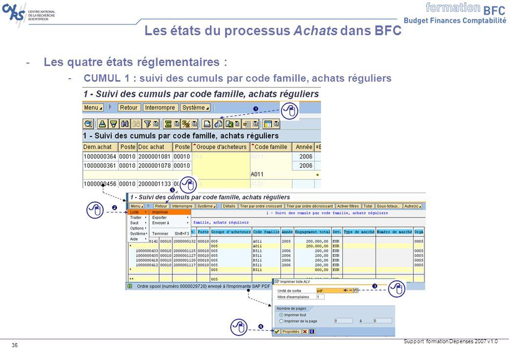 Support formation Dépenses 2007 v1.0 35 -Les quatre états réglementaires : -CUMUL 1 : suivi des cumuls par code famille, achats réguliers Les états du
