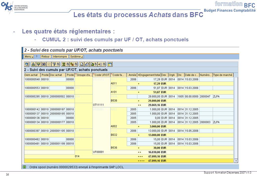 Support formation Dépenses 2007 v1.0 38 -Les quatre états réglementaires : -CUMUL 2 : suivi des cumuls par UF / OT, achats ponctuels Les états du proc