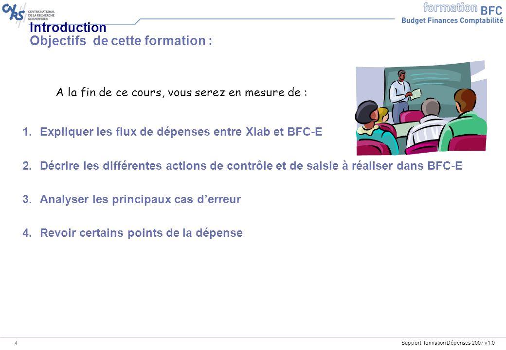 Support formation Dépenses 2007 v1.0 15 XLAB EAI session BFCE Alimentation BW : rejeu des idocs session À linitiative du labo BW Idocs (cdes, serv.