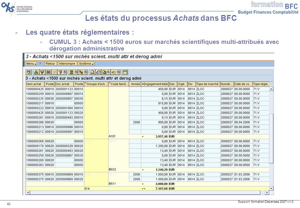 Support formation Dépenses 2007 v1.0 40 Les états du processus Achats dans BFC -Les quatre états réglementaires : -CUMUL 3 : Achats < 1500 euros sur m