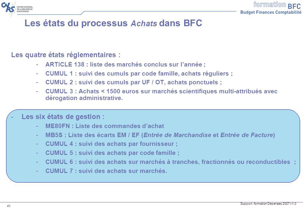 Support formation Dépenses 2007 v1.0 41 Les états du processus Achats dans BFC Les quatre états réglementaires : -ARTICLE 138 : liste des marchés conc