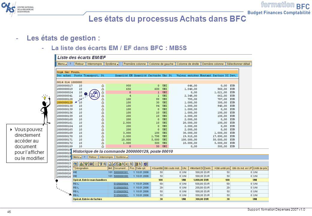 Support formation Dépenses 2007 v1.0 45 Les états du processus Achats dans BFC -Les états de gestion : -La liste des écarts EM / EF dans BFC : MB5S Vo