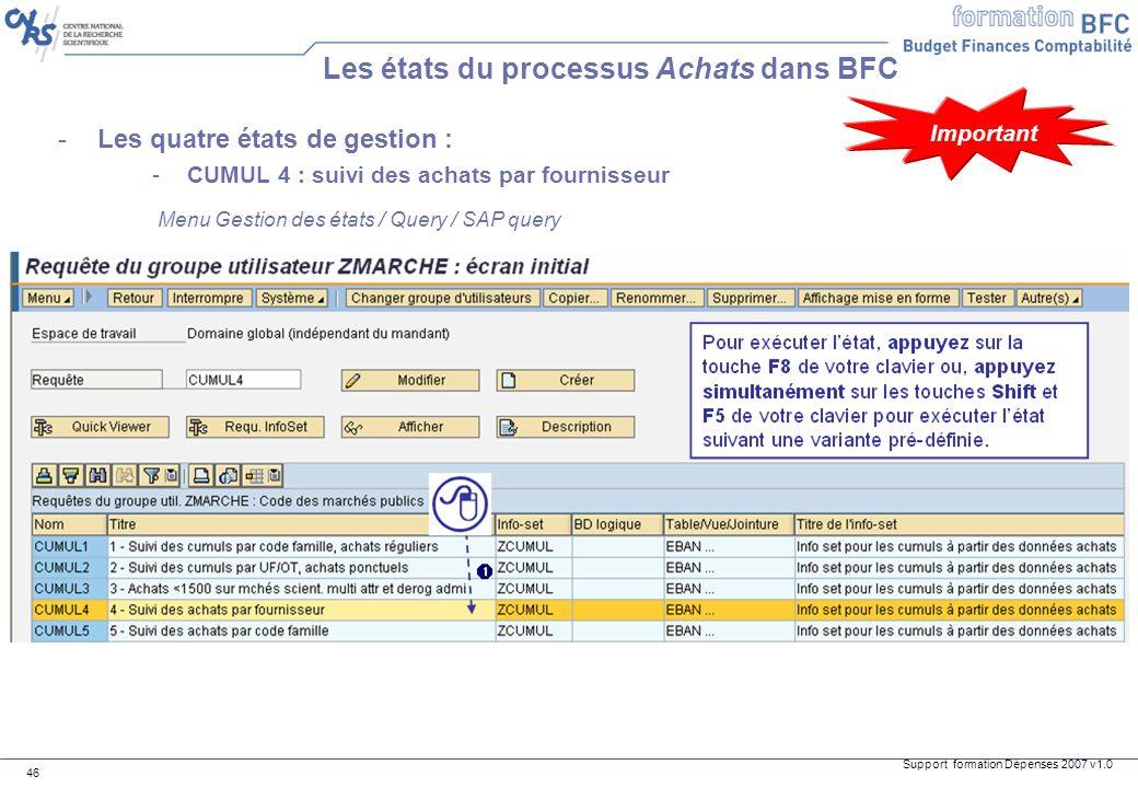 Support formation Dépenses 2007 v1.0 46 -Les quatre états de gestion : -CUMUL 4 : suivi des achats par fournisseur Les états du processus Achats dans
