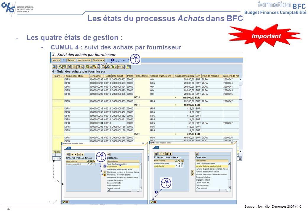 Support formation Dépenses 2007 v1.0 47 -Les quatre états de gestion : -CUMUL 4 : suivi des achats par fournisseur Les états du processus Achats dans