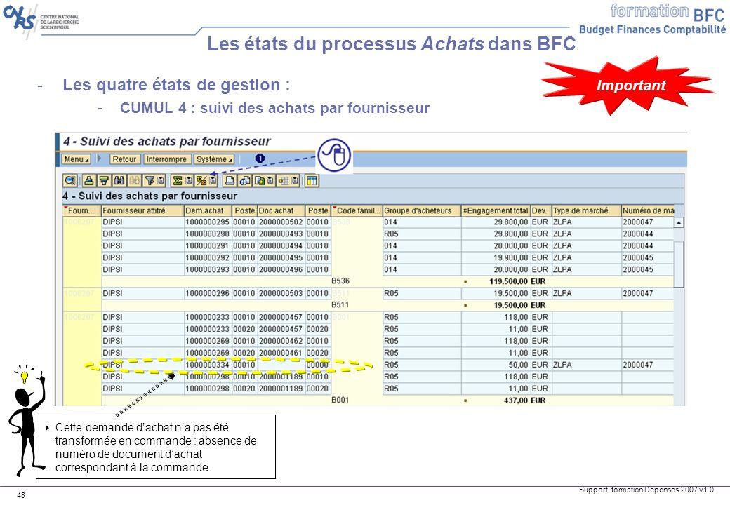 Support formation Dépenses 2007 v1.0 48 -Les quatre états de gestion : -CUMUL 4 : suivi des achats par fournisseur Les états du processus Achats dans