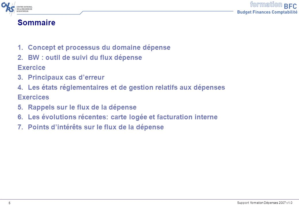 Support formation Dépenses 2007 v1.0 5 Sommaire 1.Concept et processus du domaine dépense 2.BW : outil de suivi du flux dépense Exercice 3.Principaux