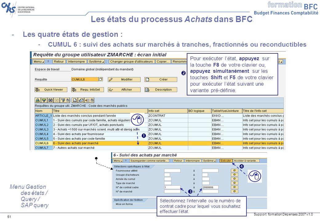 Support formation Dépenses 2007 v1.0 51 -Les quatre états de gestion : -CUMUL 6 : suivi des achats sur marchés à tranches, fractionnés ou reconductibl