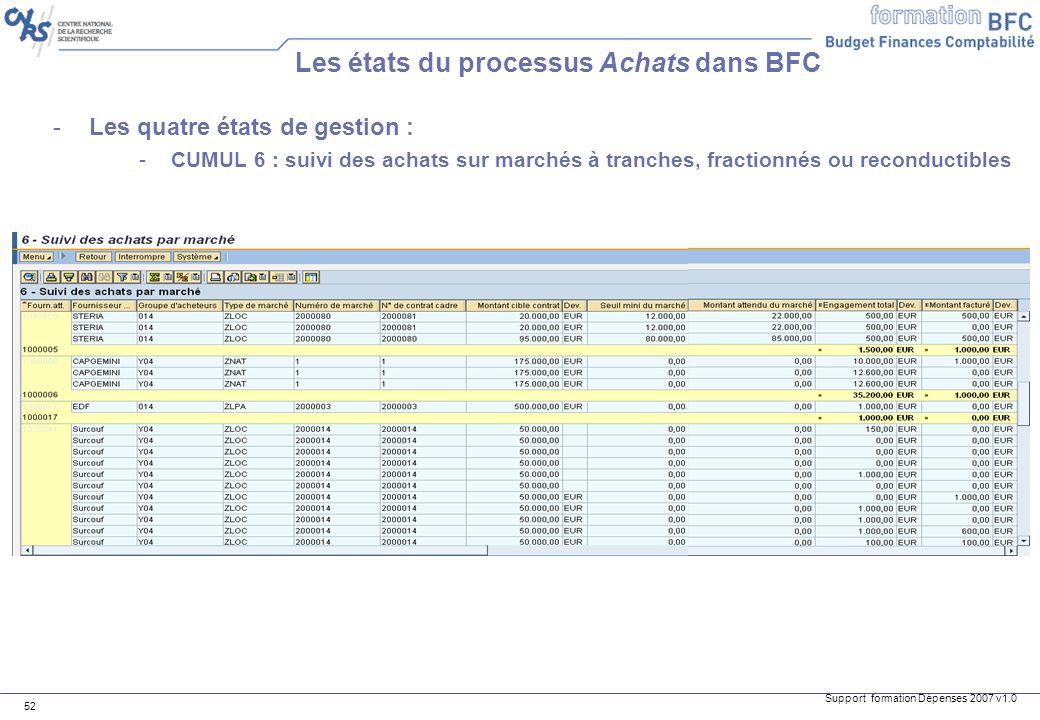 Support formation Dépenses 2007 v1.0 52 -Les quatre états de gestion : -CUMUL 6 : suivi des achats sur marchés à tranches, fractionnés ou reconductibl