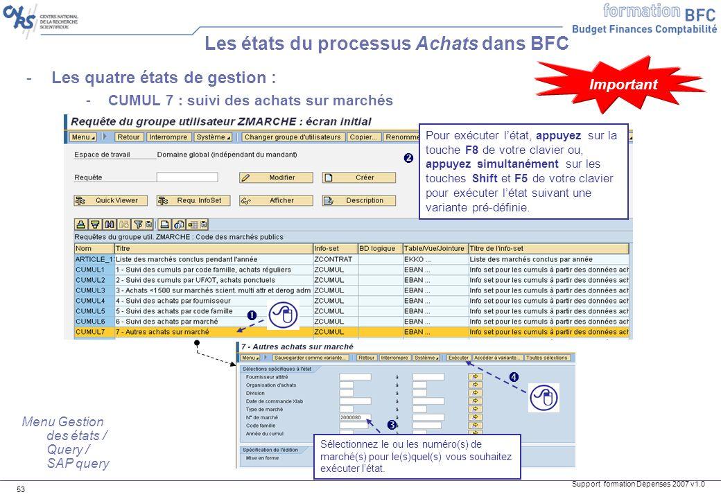 Support formation Dépenses 2007 v1.0 53 -Les quatre états de gestion : -CUMUL 7 : suivi des achats sur marchés Les états du processus Achats dans BFC