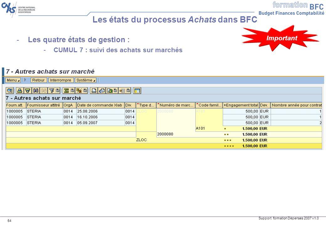 Support formation Dépenses 2007 v1.0 54 -Les quatre états de gestion : -CUMUL 7 : suivi des achats sur marchés Les états du processus Achats dans BFC