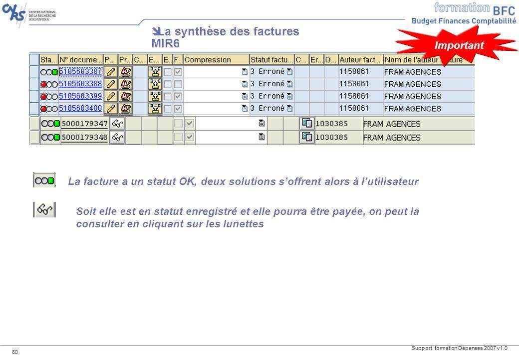 Support formation Dépenses 2007 v1.0 60 La synthèse des factures MIR6 La facture a un statut OK, deux solutions soffrent alors à lutilisateur Soit ell