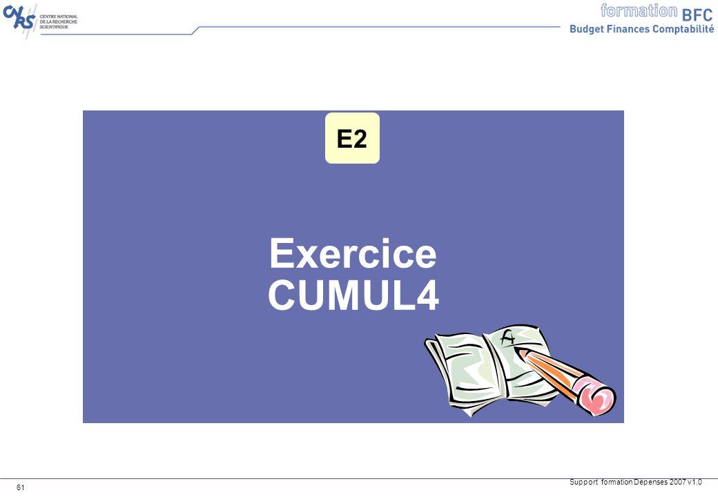 Support formation Dépenses 2007 v1.0 61 Exercice CUMUL4 E2