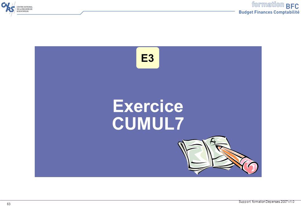 Support formation Dépenses 2007 v1.0 63 Exercice CUMUL7 E3