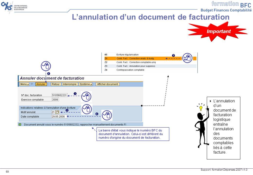Support formation Dépenses 2007 v1.0 69 Lannulation dun document de facturation Lannulation dun document de facturation logistique entraîne lannulatio