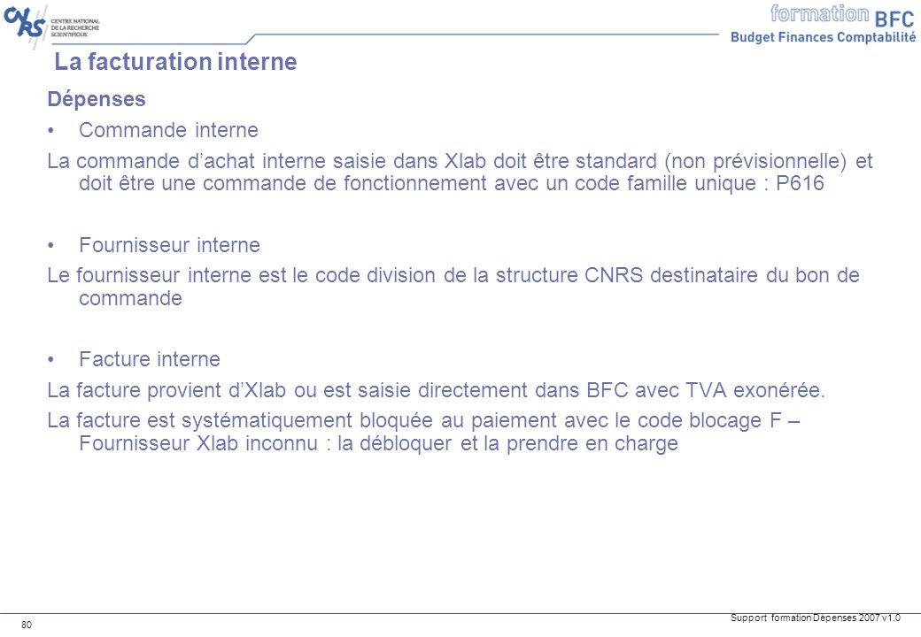 Support formation Dépenses 2007 v1.0 80 La facturation interne Dépenses Commande interne La commande dachat interne saisie dans Xlab doit être standar