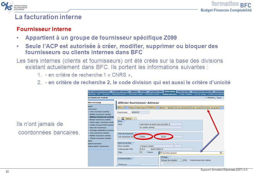 Support formation Dépenses 2007 v1.0 82 Fournisseur interne Appartient à un groupe de fournisseur spécifique Z099 Seule lACP est autorisée à créer, mo