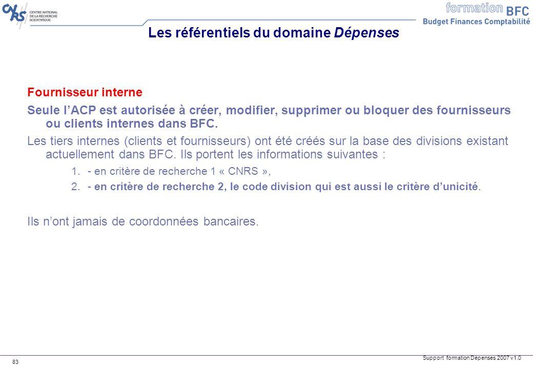 Support formation Dépenses 2007 v1.0 83 Fournisseur interne Seule lACP est autorisée à créer, modifier, supprimer ou bloquer des fournisseurs ou clien