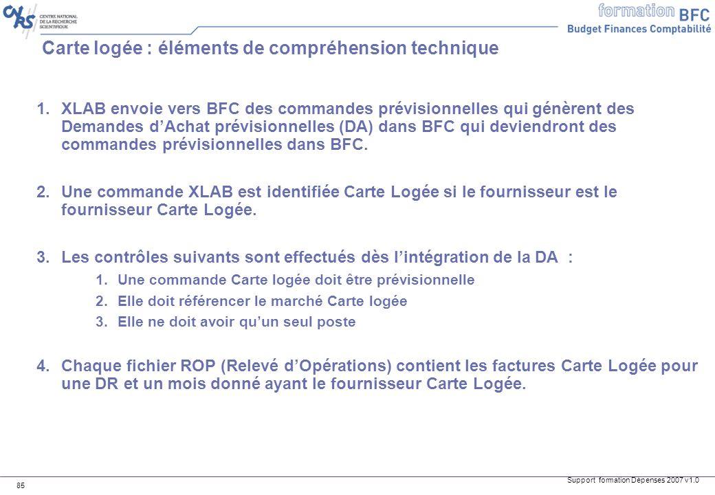 Support formation Dépenses 2007 v1.0 85 Carte logée : éléments de compréhension technique 1.XLAB envoie vers BFC des commandes prévisionnelles qui gén