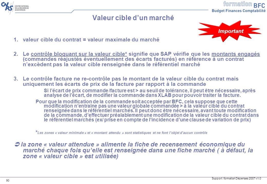 Support formation Dépenses 2007 v1.0 90 Valeur cible dun marché 1.valeur cible du contrat = valeur maximale du marché 2.Le contrôle bloquant sur la va