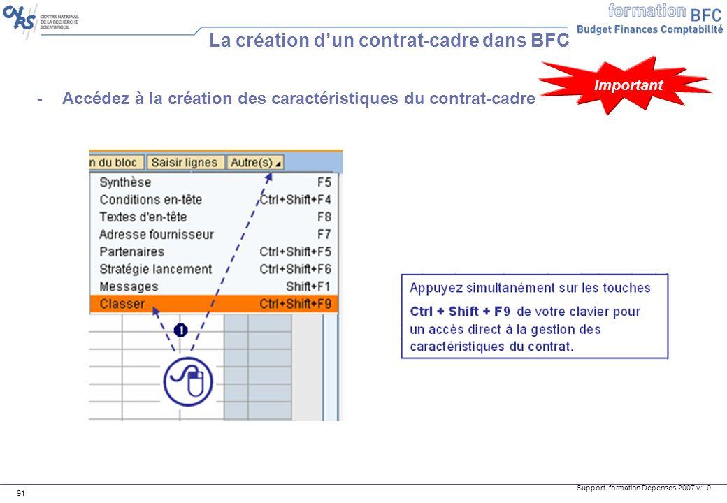 Support formation Dépenses 2007 v1.0 91 -Accédez à la création des caractéristiques du contrat-cadre La création dun contrat-cadre dans BFC Important