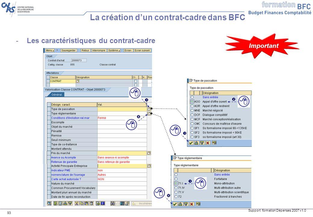 Support formation Dépenses 2007 v1.0 93 -Les caractéristiques du contrat-cadre La création dun contrat-cadre dans BFC Important