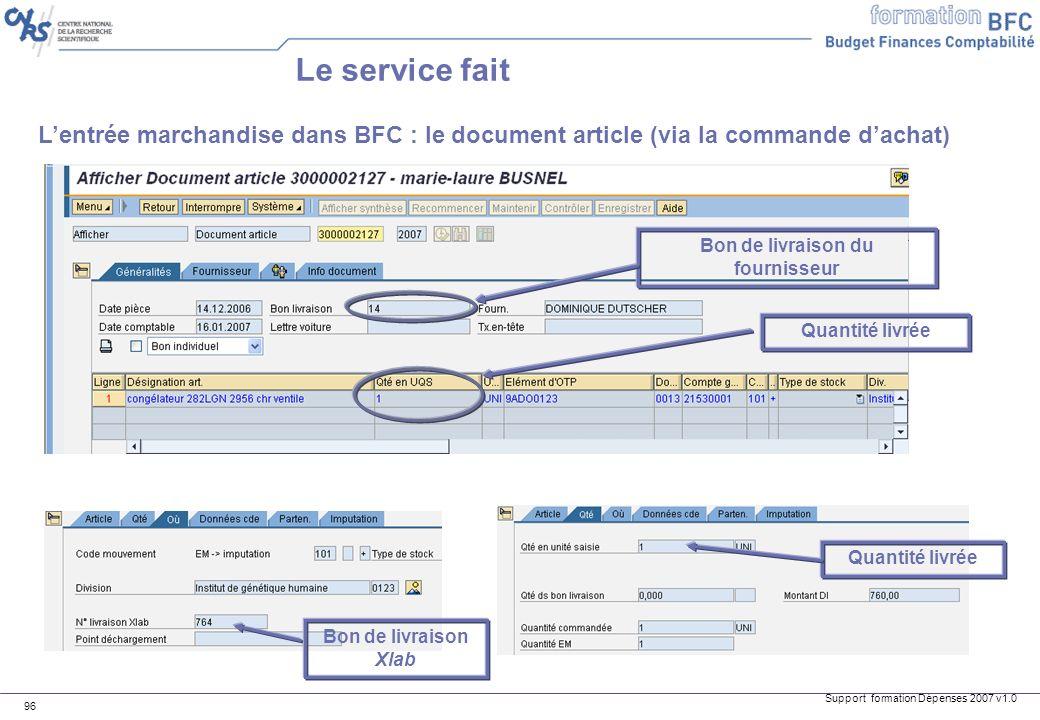 Support formation Dépenses 2007 v1.0 96 Lentrée marchandise dans BFC : le document article (via la commande dachat) Le service fait Bon de livraison d