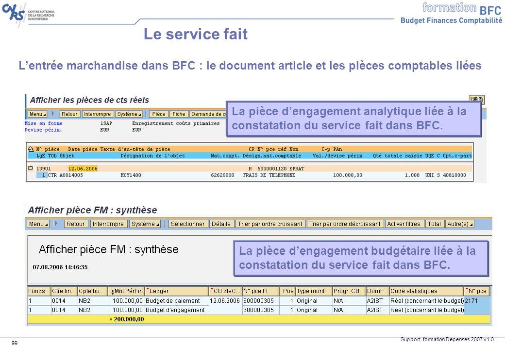 Support formation Dépenses 2007 v1.0 99 Lentrée marchandise dans BFC : le document article et les pièces comptables liées Le service fait La pièce den