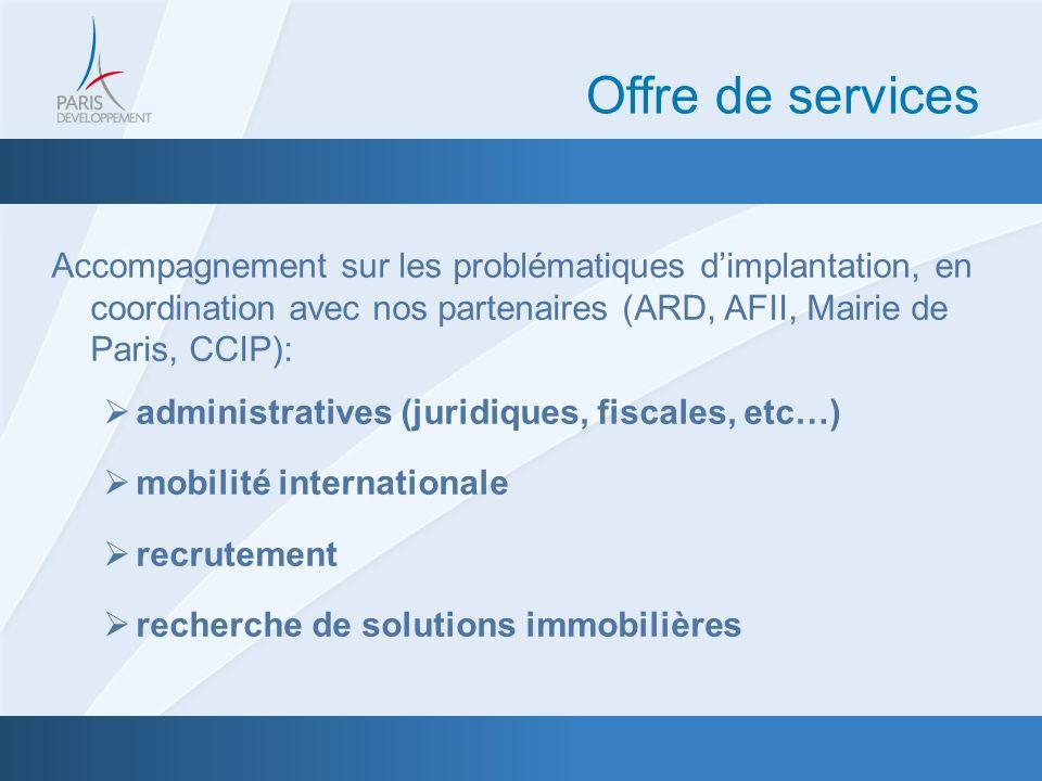 Accompagnement sur les problématiques dimplantation, en coordination avec nos partenaires (ARD, AFII, Mairie de Paris, CCIP): administratives (juridiques, fiscales, etc…) mobilité internationale recrutement recherche de solutions immobilières Offre de services