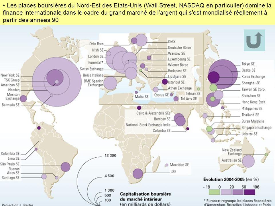 Les places boursières du Nord-Est des Etats-Unis (Wall Street, NASDAQ en particulier) domine la finance internationale dans le cadre du grand marché d