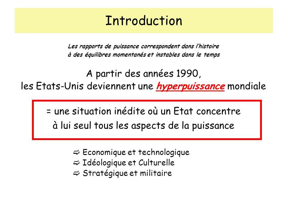 Introduction Les rapports de puissance correspondent dans lhistoire à des équilibres momentanés et instables dans le temps A partir des années 1990, l