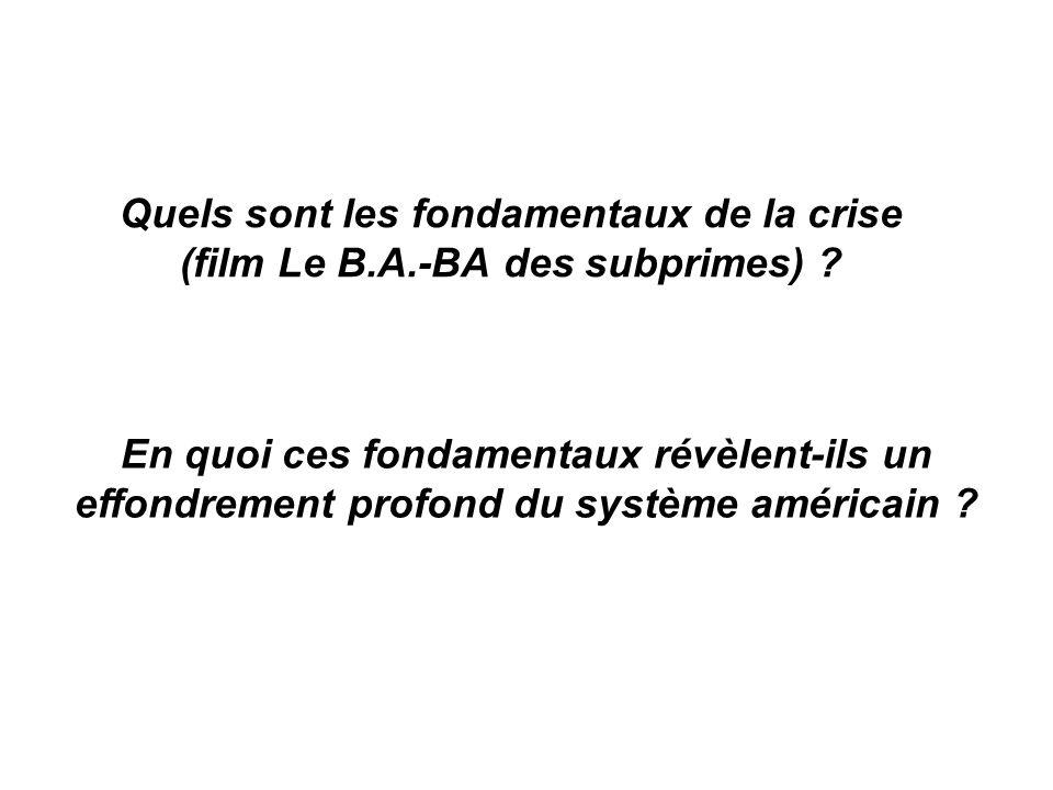 Quels sont les fondamentaux de la crise (film Le B.A.-BA des subprimes) ? En quoi ces fondamentaux révèlent-ils un effondrement profond du système amé