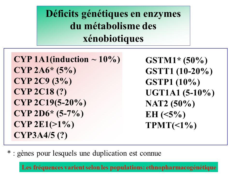 Déficits génétiques en enzymes du métabolisme des xénobiotiques CYP 1A1(induction ~ 10%) CYP 2A6* (5%) CYP 2C9 (3%) CYP 2C18 (?) CYP 2C19(5-20%) CYP 2