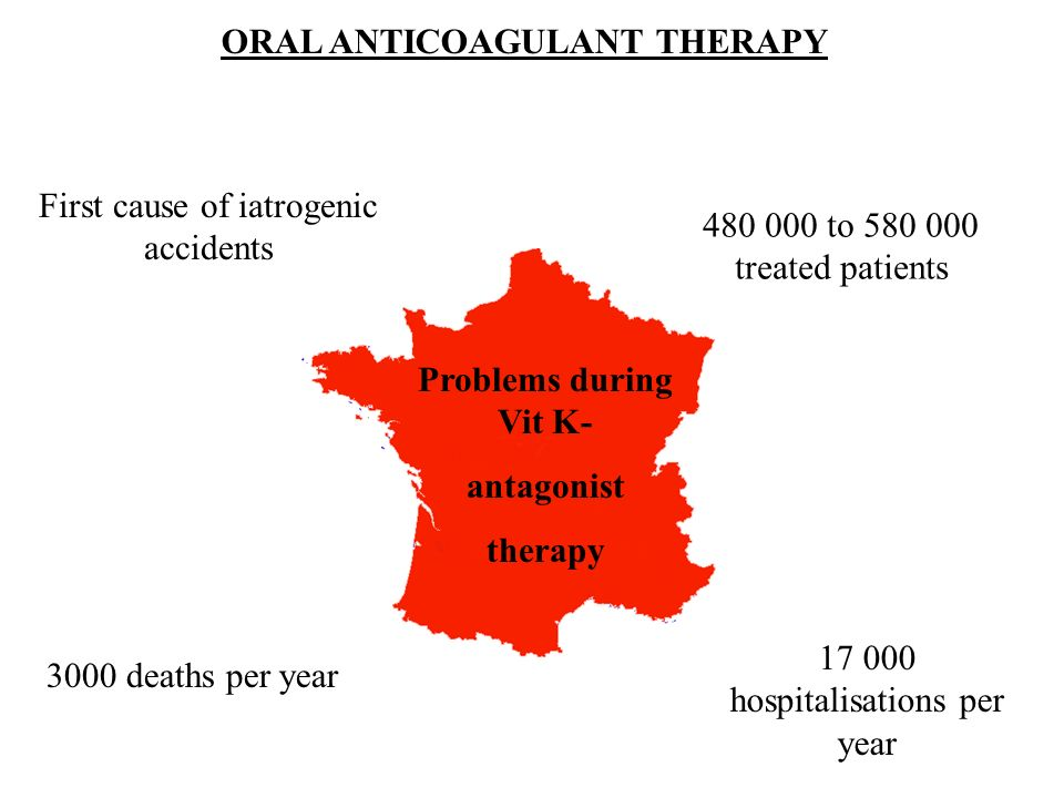 ORAL ANTICOAGULANT THERAPY Problems during Vit K- antagonist therapy 17 000 hospitalisations per year First cause of iatrogenic accidents 480 000 to 5