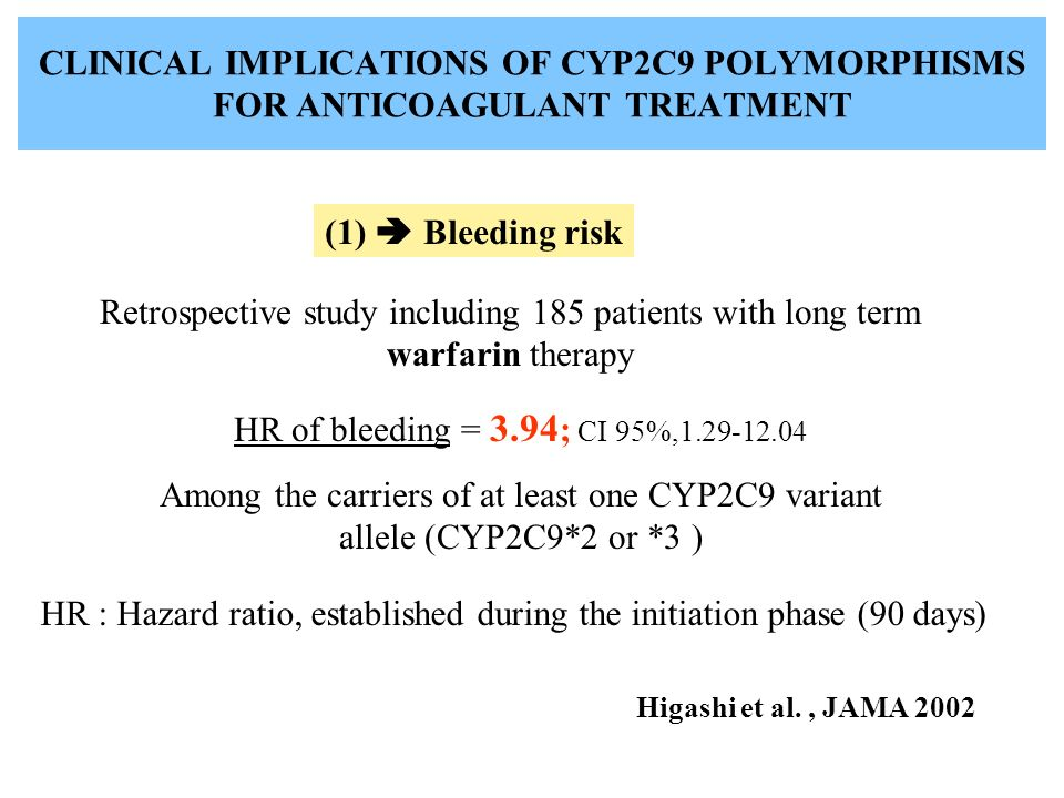 CLINICAL IMPLICATIONS OF CYP2C9 POLYMORPHISMS FOR ANTICOAGULANT TREATMENT (1) Bleeding risk Higashi et al., JAMA 2002 HR : Hazard ratio, established during the initiation phase (90 days) Retrospective study including 185 patients with long term warfarin therapy HR of bleeding = 3.94 ; CI 95%,1.29-12.04 Among the carriers of at least one CYP2C9 variant allele (CYP2C9*2 or *3 )