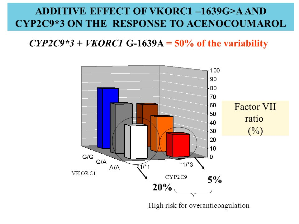 ADDITIVE EFFECT OF VKORC1 –1639G>A AND CYP2C9*3 ON THE RESPONSE TO ACENOCOUMAROL Factor VII ratio (%) CYP2C9*3 + VKORC1 G-1639A = 50% of the variabili