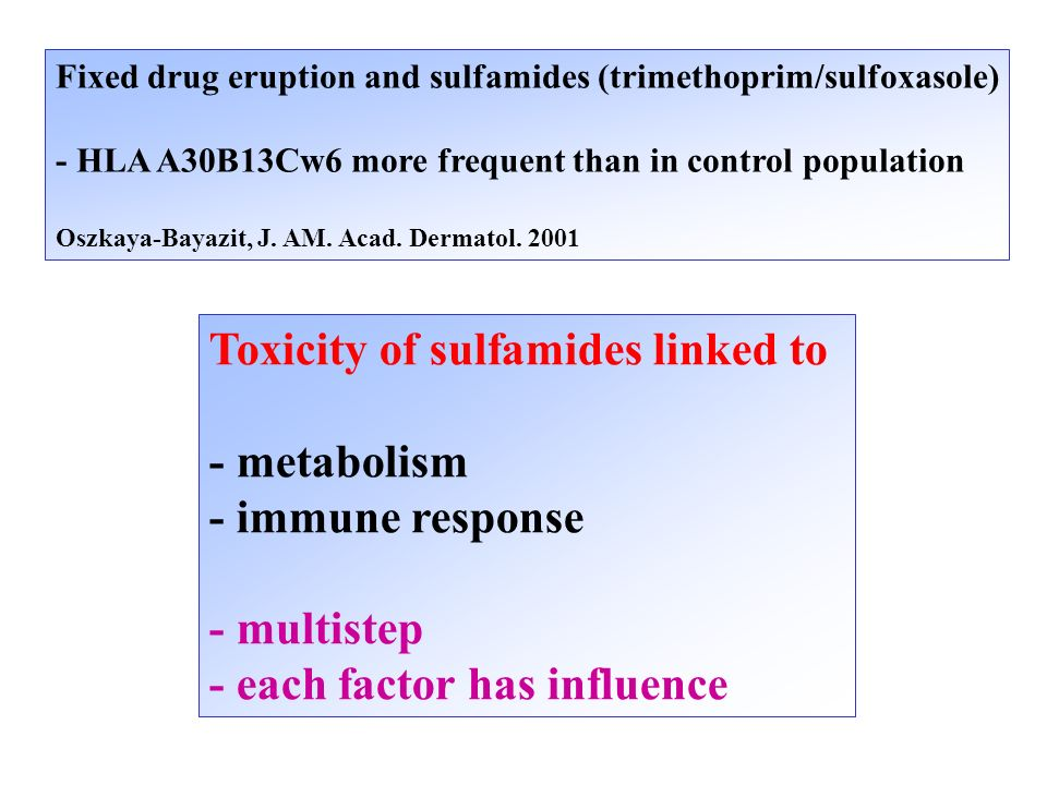 Fixed drug eruption and sulfamides (trimethoprim/sulfoxasole) - HLA A30B13Cw6 more frequent than in control population Oszkaya-Bayazit, J. AM. Acad. D