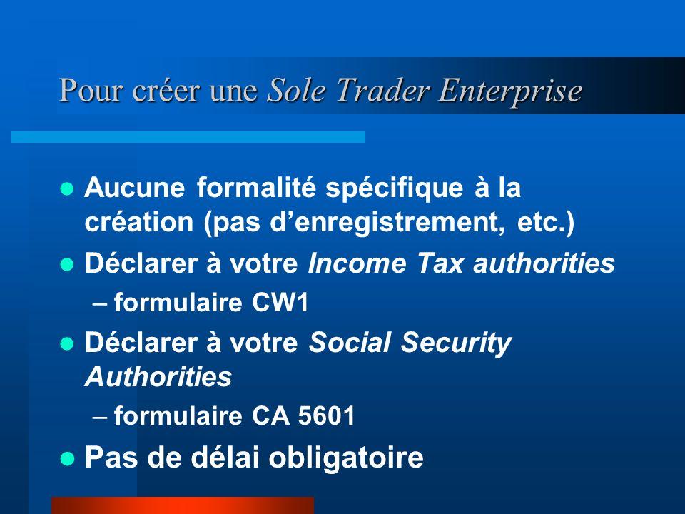 Les formalités administratives Créer une Sole Trader Enterprise Créer une Private Limited Company Créer une société en 24h ! Bureau de liaison, Succur