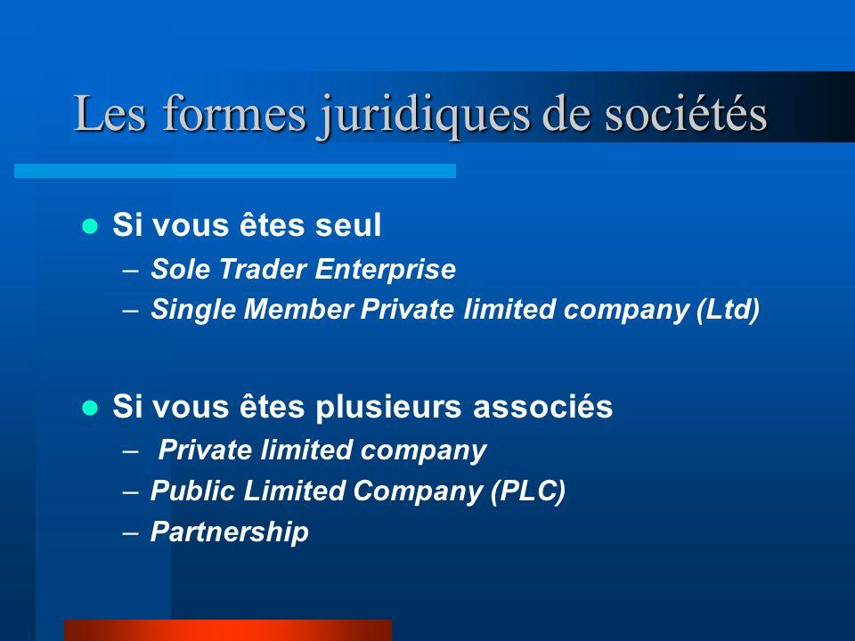 Les formes juridiques de sociétés Si vous êtes seul –Sole Trader Enterprise –Single Member Private limited company (Ltd) Si vous êtes plusieurs associés – Private limited company –Public Limited Company (PLC) –Partnership