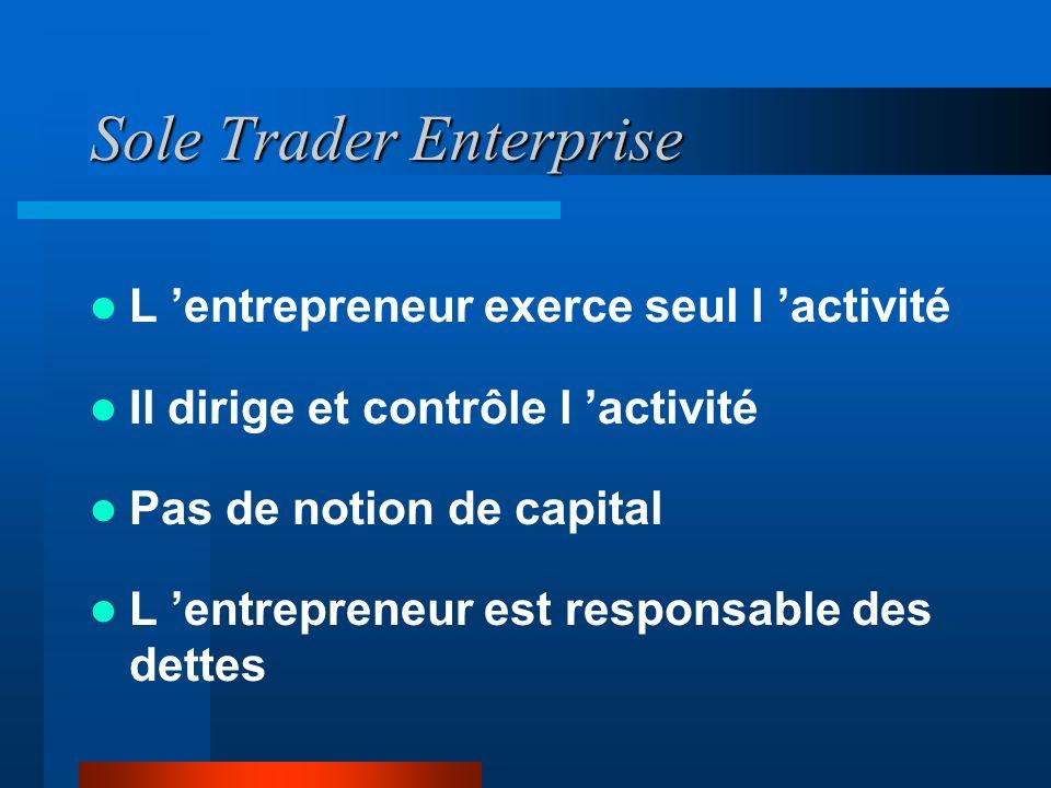 Sole Trader Enterprise L entrepreneur exerce seul l activité Il dirige et contrôle l activité Pas de notion de capital L entrepreneur est responsable des dettes
