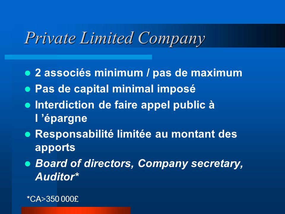 Sole Trader Enterprise L entrepreneur exerce seul l activité Il dirige et contrôle l activité Pas de notion de capital L entrepreneur est responsable