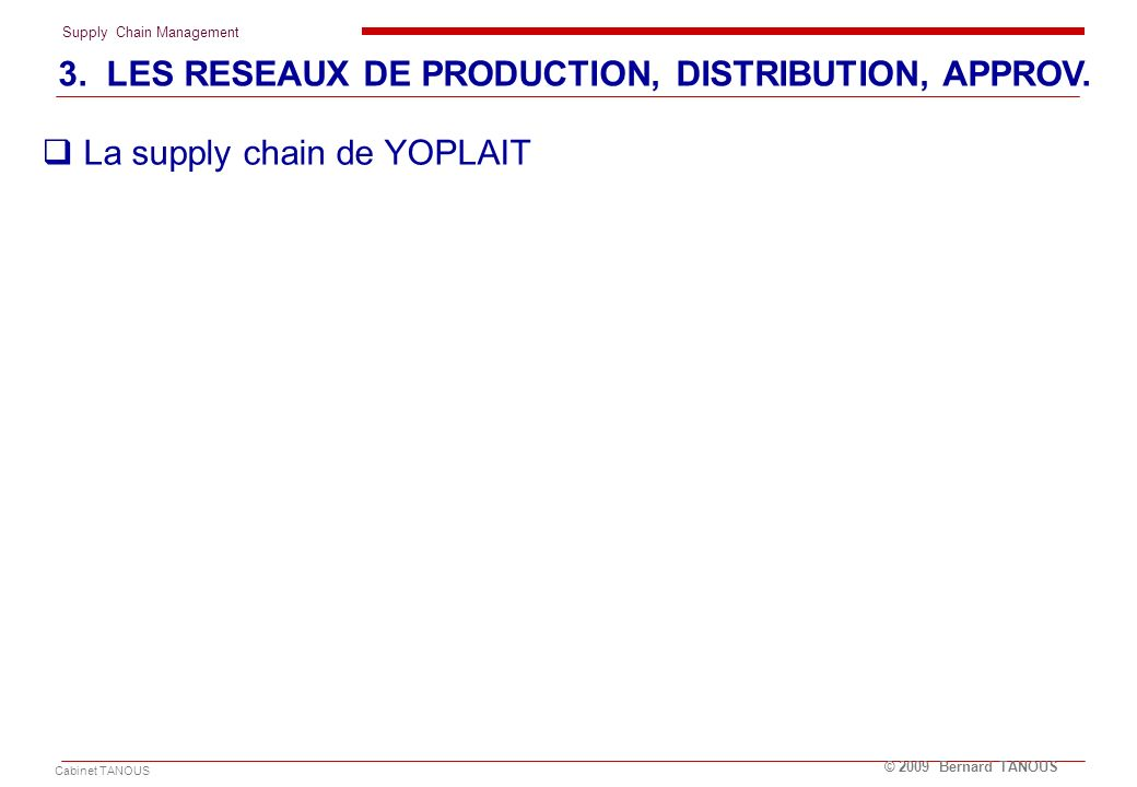Supply Chain Management Cabinet TANOUS © 2009 Bernard TANOUS La supply chain de YOPLAIT 3. LES RESEAUX DE PRODUCTION, DISTRIBUTION, APPROV.