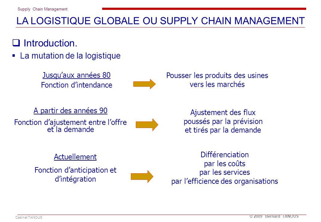 Supply Chain Management Cabinet TANOUS © 2009 Bernard TANOUS Introduction. La mutation de la logistique LA LOGISTIQUE GLOBALE OU SUPPLY CHAIN MANAGEME