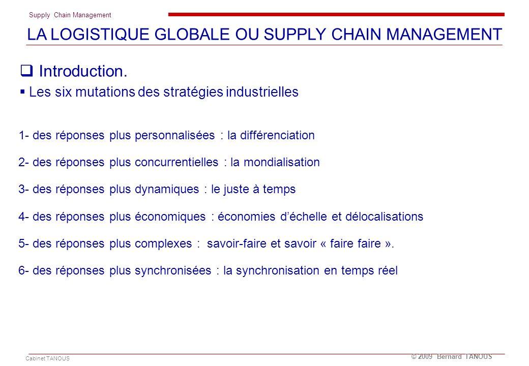 Supply Chain Management Cabinet TANOUS © 2009 Bernard TANOUS 1- des réponses plus personnalisées : la différenciation 2- des réponses plus concurrenti