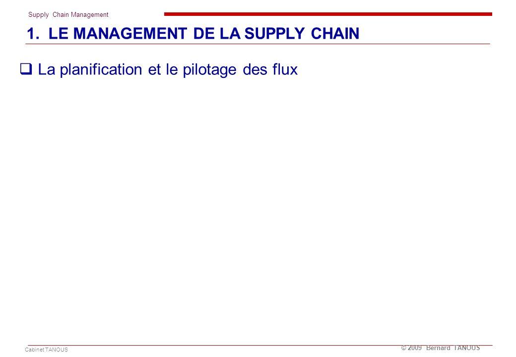Supply Chain Management Cabinet TANOUS © 2009 Bernard TANOUS La planification et le pilotage des flux 1. LE MANAGEMENT DE LA SUPPLY CHAIN