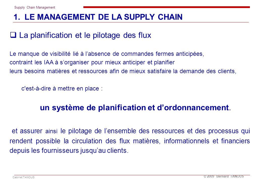 Supply Chain Management Cabinet TANOUS © 2009 Bernard TANOUS La planification et le pilotage des flux Le manque de visibilité lié à labsence de comman