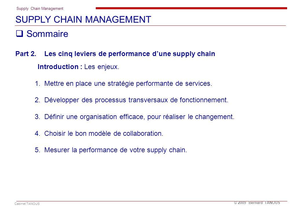 Supply Chain Management Cabinet TANOUS © 2009 Bernard TANOUS Sommaire Part 2. Les cinq leviers de performance dune supply chain Introduction : Les enj