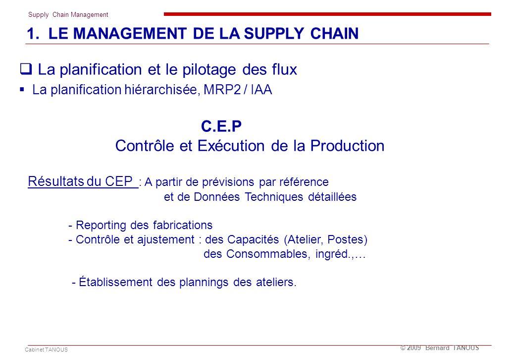 Supply Chain Management Cabinet TANOUS © 2009 Bernard TANOUS 1. LE MANAGEMENT DE LA SUPPLY CHAIN La planification et le pilotage des flux La planifica