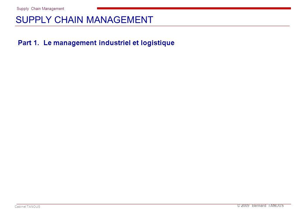 Supply Chain Management Cabinet TANOUS © 2009 Bernard TANOUS Part 1. Le management industriel et logistique SUPPLY CHAIN MANAGEMENT
