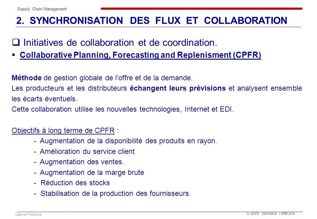 Supply Chain Management Cabinet TANOUS © 2009 Bernard TANOUS Initiatives de collaboration et de coordination. Collaborative Planning, Forecasting and