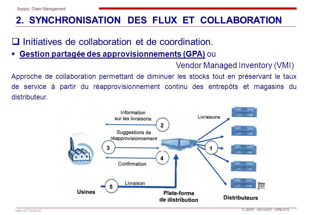 Supply Chain Management Cabinet TANOUS © 2009 Bernard TANOUS Initiatives de collaboration et de coordination. Gestion partagée des approvisionnements